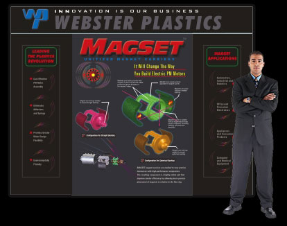 Webster Plastics display created by Wirlo Associates